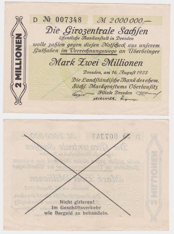 2 Millionen Mark Banknote Girozentrale Sachsen Dresden 16.08.1923(121508)