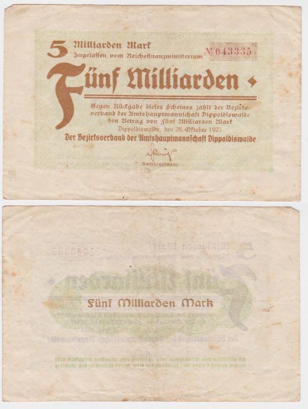 5 Milliarden Mark Banknote Amtshauptmannschaft Dippoldiswalde 28.10.1923(121013)