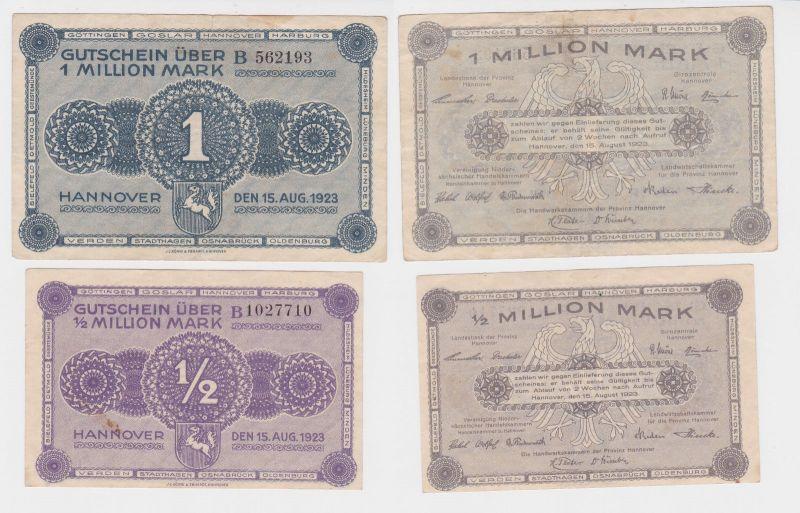 2 Banknoten Handwerkskammer der Provinz Hannover 15.August 1923 (121839)