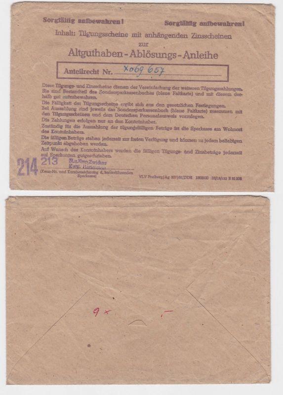 DDR Umschlag Altguthaben Ablösungs Anleihe 1961 (121546)