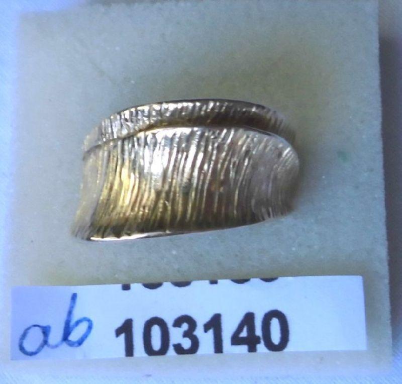 Ungewöhnlicher vergoldeter Damenring 925er Silber Italy (103140)
