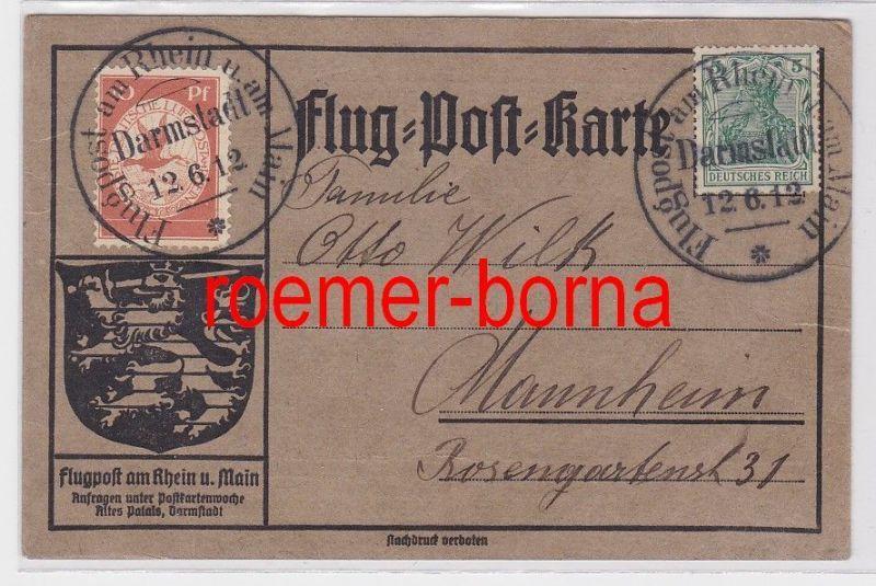 68718 Flug-Post-Karte Flugpost am Rhein u. am Main 12.6.1912