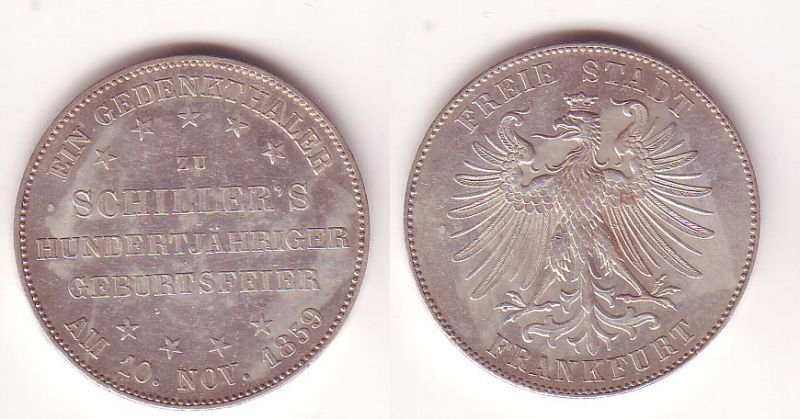 Silber Muenze 1 Gedenktaler Freie Stadt Frankfurt 1859 vz/ Stgl. (104925)
