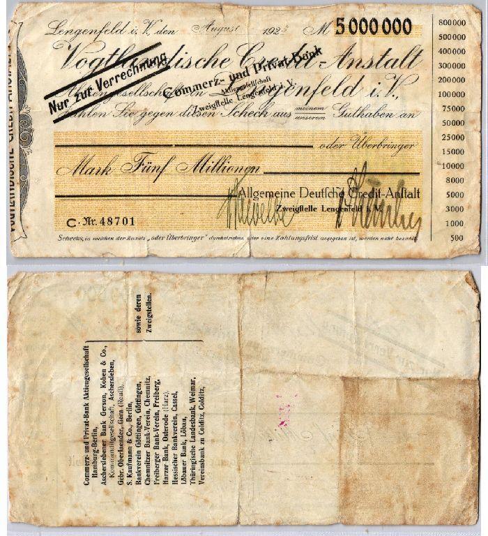 5 Millionen Mark Banknote Inflation ADCA Lengenfeld i.V. August 1923 (123514)