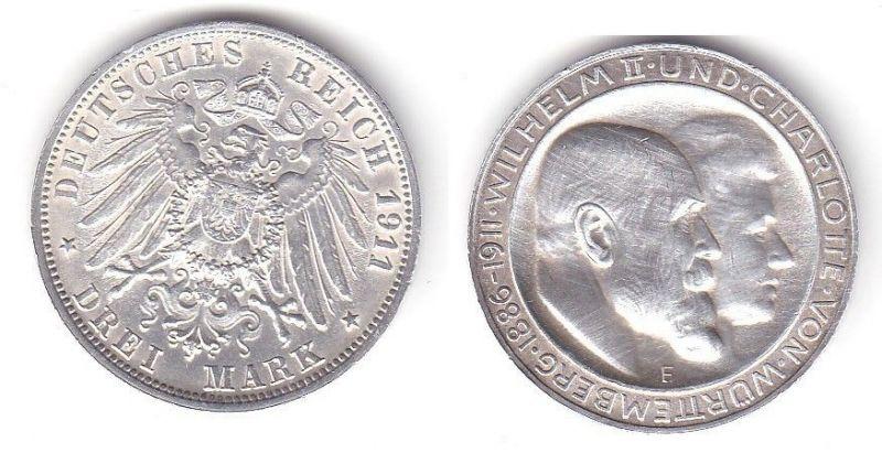 3 Mark Silbermünze Württemberg Silberhochzeit 1911 Jäger 177 a  (111985)