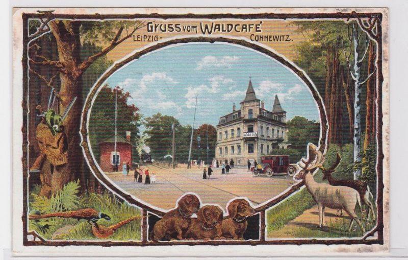 88216 Ak Gruß vom Waldcafé Leipzig Connewitz 1911