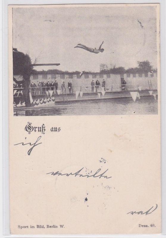 87474 Ak Gruß aus Leipzig Mann springt vom 3 Meter Brett 1898