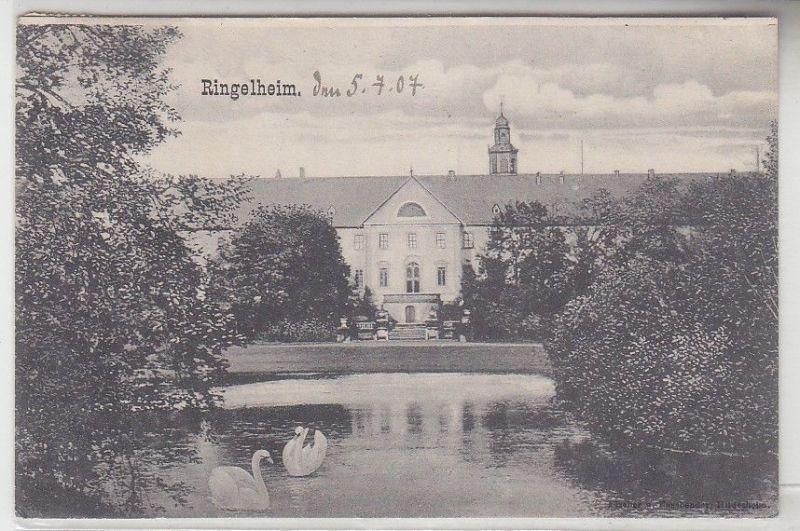 68183 Ak Ringelheim Schloß mit Teich und Schwänen 1907