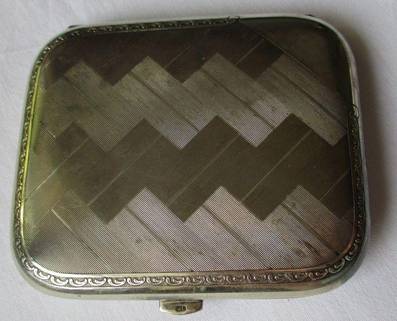 Schönes Zigarettenetui Schachtel aus Kraft Alpacca Gravur G.L Art Déco (117136)