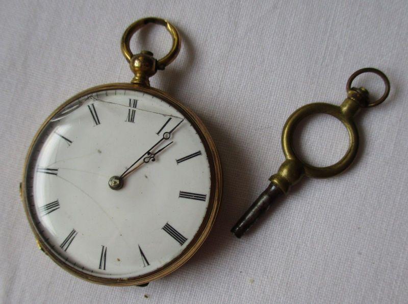 Elegante 750er Gold Taschenuhr 18 Rubinen um 1920 (115710)
