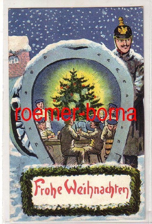 81258 patriotische Ak Frohe Weihnachten Soldaten Hufeisen Kanone 1916 0
