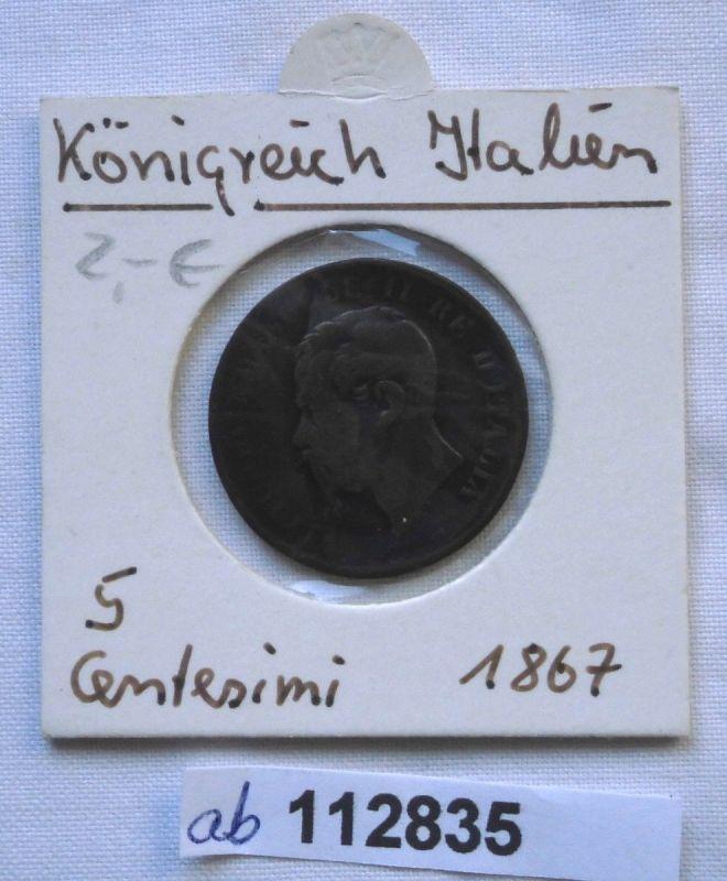 5 Centesimi Kupfer Münze Italien Vittorio Emanuel Ii 1867 112835
