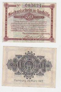 50 Pfennig Wechselschein zur Aushilfe Hamburg 20.März 1917 (115872)