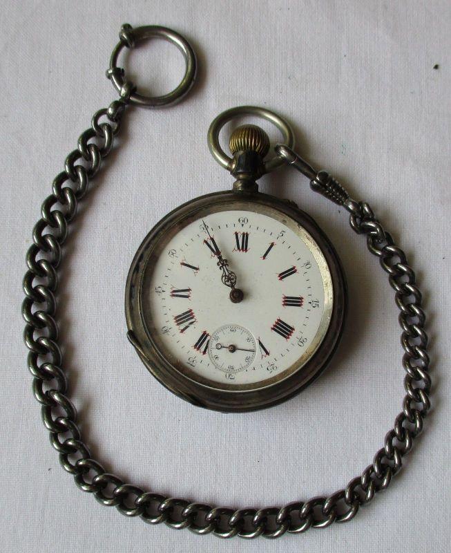 Schöne antike Taschenuhr Silber an Uhrkette um 1920 (113818)