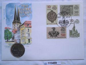 113459 Numisbrief 750 Jahre Berlin Nikolaiviertel mit 5 Mark Münze DDR von 1987
