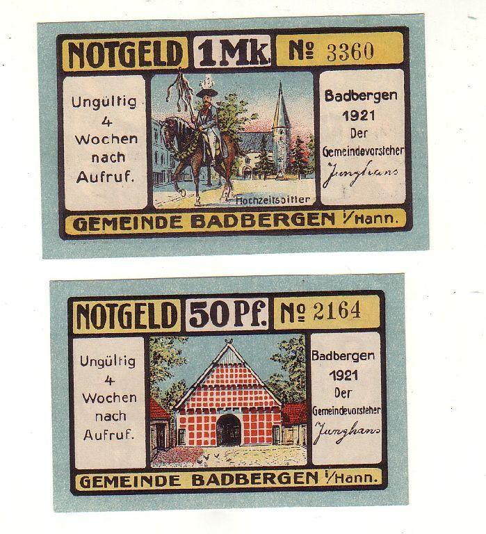 2 Banknoten 50 Pfennig 1 Mark Notgeld Gemeinde Badbergen 1921 (117036)