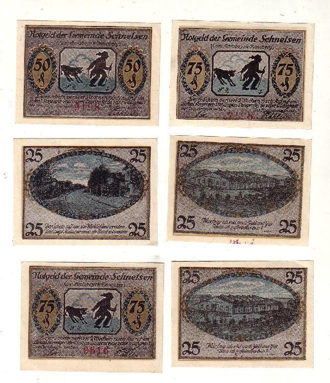 6 Banknoten 2x 25, 2x 50, 2x 75 Pfennig Notgeld Gemeinde Schnelsen o.D. (116634)