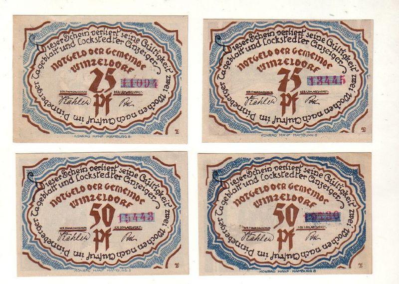 4 Banknoten Notgeld Gemeinde Winzeldorf o.D. (1921) (116525)