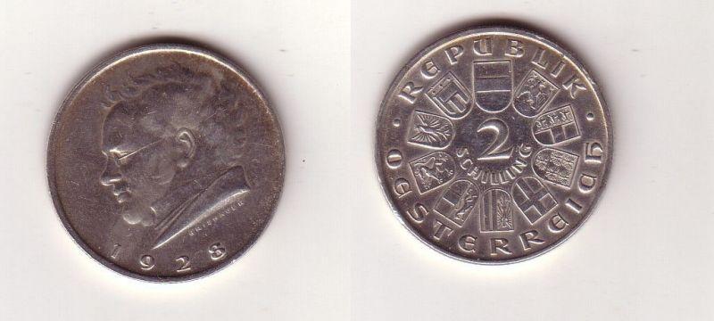 2 Schilling Silber Münze österreich Schubert 1928 115203