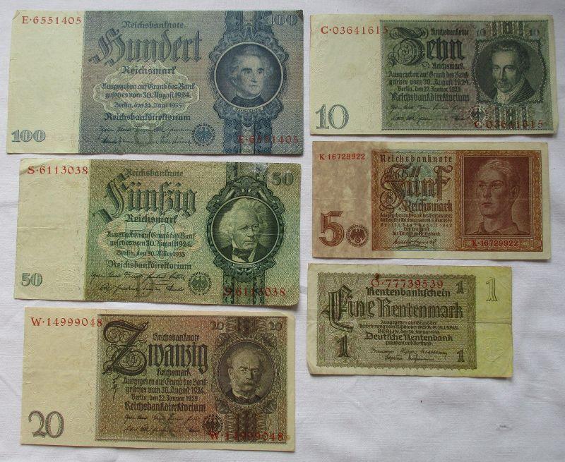 6 verschiedene Banknoten 1 bis 100 Mark Deutsches Reich (111753)
