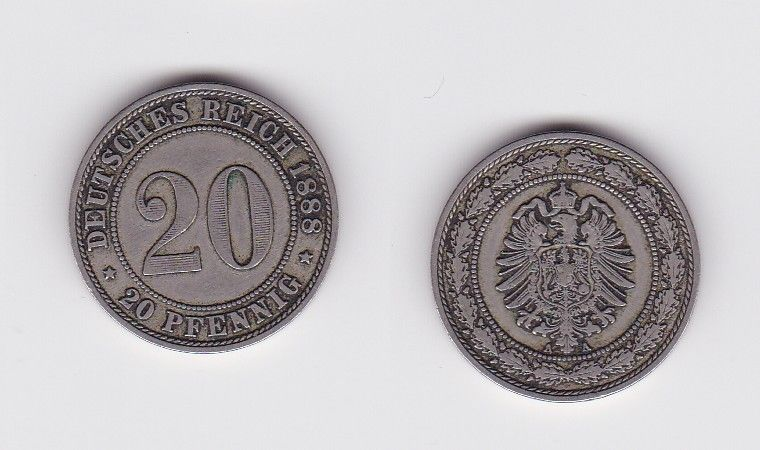 20 Pfennig Nickel Münze Kaiserreich 1888 A, Jäger 9  (122924)
