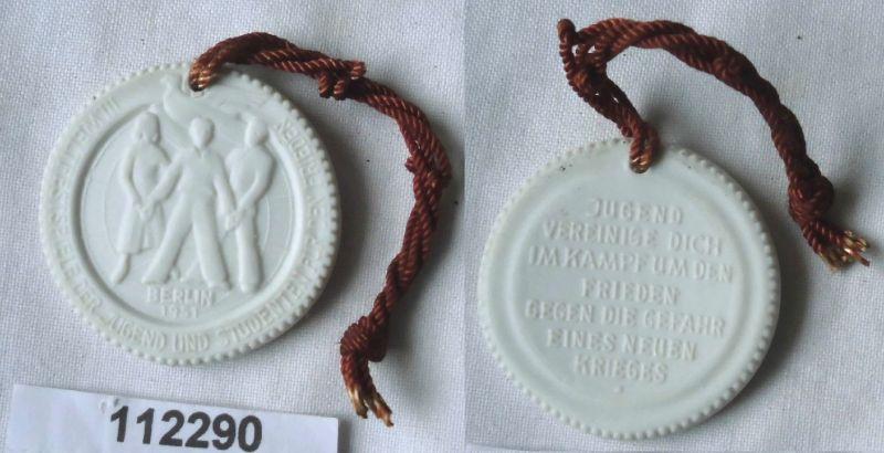 DDR Porzellan Medaille Weltfestspiele der Jugend Berlin 1951 (112290)
