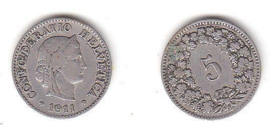 5 Rappen Nickel Münze Schweiz 1911 B (114023)
