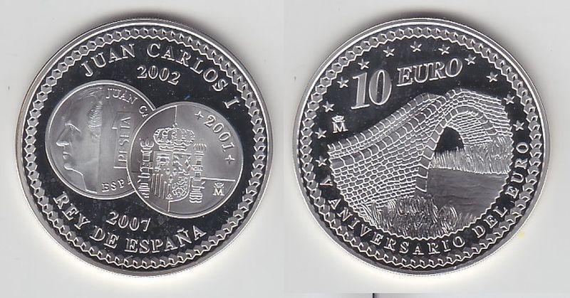 10 Euro Silber Münze Spanien 5.Jahrestag des Euro-Einigkeit 2007 (114600)