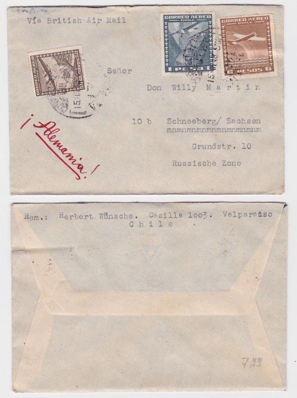 87965 seltener Luftpostbrief von Chile nach Schneeberg 1948 0