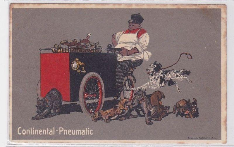 90588 Reklame Humor Ak Continental Pneumatic Imbisswagen um 1914