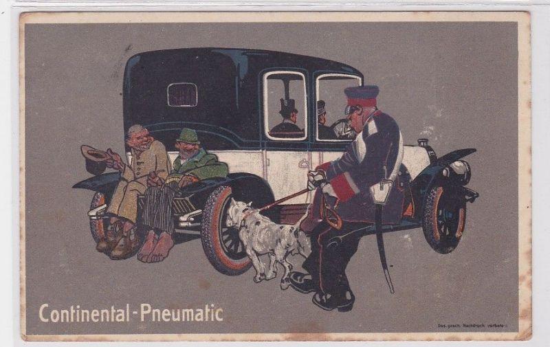 90589 Reklame Humor Ak Continental Pneumatic elegantes Automobil um 1914