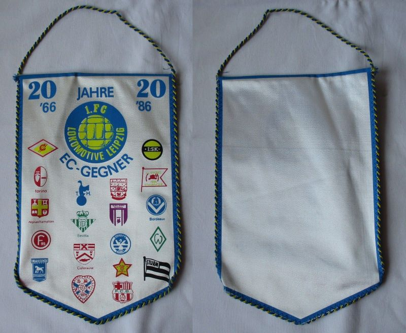 Original DDR Fußball Wimpel 20 Jahre 1.FC Lokomotive Leipzig Europacup (109626)