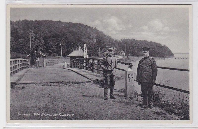 90964 Ak Deutsch Dänische Grenze bei Flensburg um 1940 0