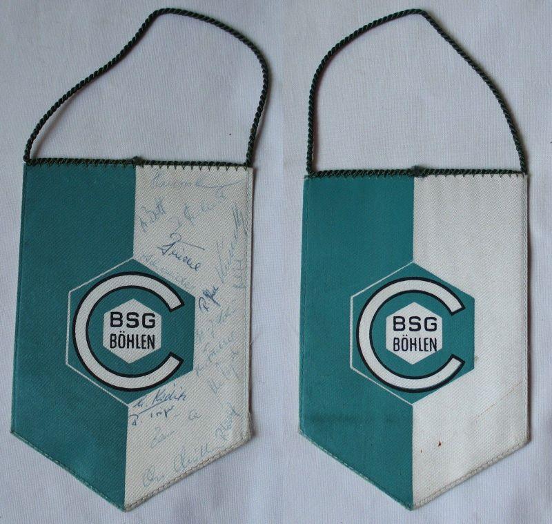 Original DDR Fußball Wimpel BSG Böhlen mit Spielerautogrammen (100285)