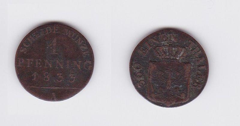 1 Pfennig Kupfer Münze Preussen Friedrich Wilhelm Iii 1833 A 117196