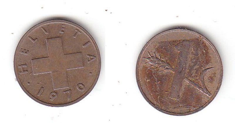 1 Rappen Kupfer Münze Schweiz 1970 B (115357)