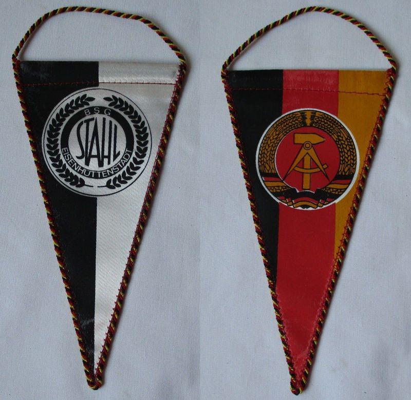 Original DDR Fußball Wimpel BSG Stahl Eisenhüttenstadt schwarz weiß (109530)