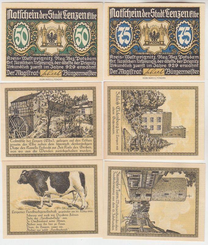 6 Banknoten Notgeld Stadt Lenzen an der Elbe um 1921 (114209) 0