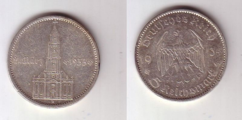 5 Mark Silber Münze 3. Reich Garnisonkirche mit Datum 1934 A Jäger 356 (115561)