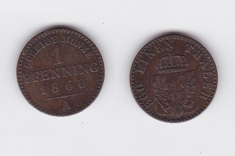 1 Pfennig Kupfer Münze Preussen Friedrich Wilhelm Iv 1860 A 117268