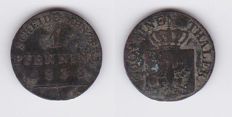 1 Pfennig Kupfer Münze Preussen Friedrich Wilhelm Iii 1838 A 113650