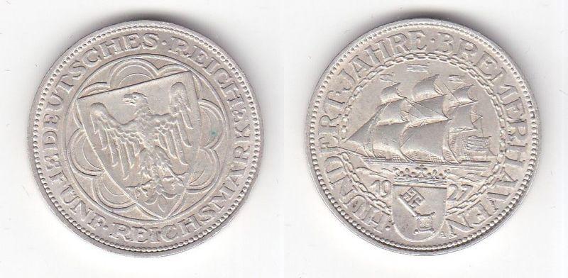 5 Mark Silber Münze 100 Jahre Bremerhaven 1927 A Jäger 326 (118906)