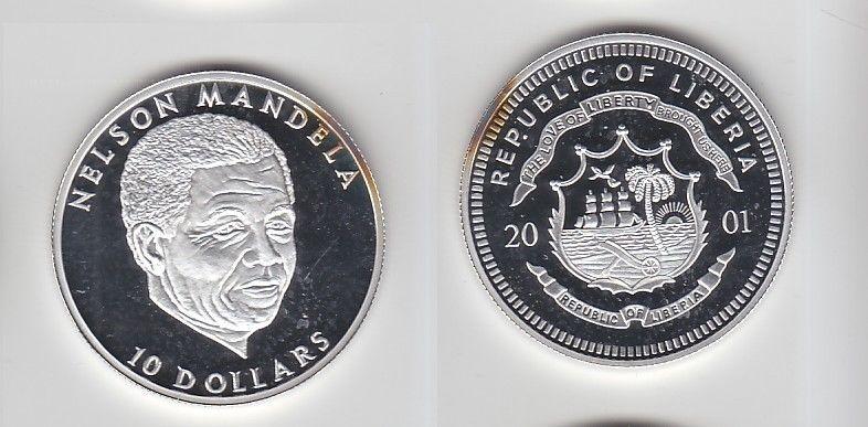 10 Dollar Silber Münze Liberia 2001 Nelson Mandela 116467 Nr
