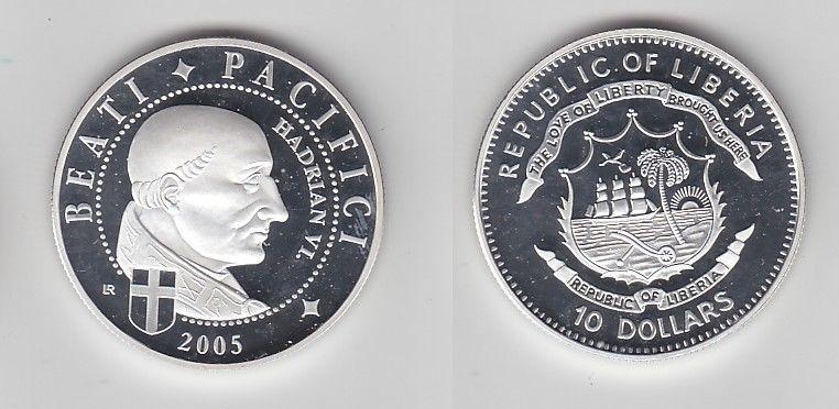 10 Dollar Silber Münze Liberia 2005 Papst Hadrian Vi 116270 Nr