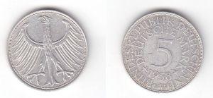 5 Mark Silbermünze Kursmünze BRD 1958 J Jäger 387 (118899)
