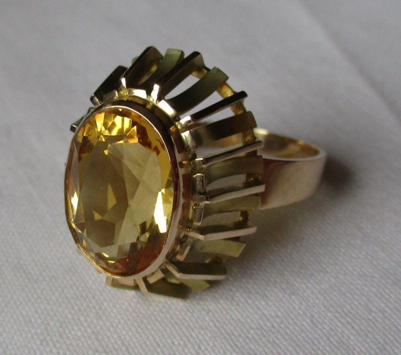 Hochwertiger Damen Ring aus 585er Gold Handarbeit mit gelbem Stein (124202)