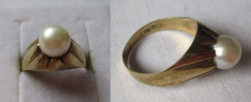 Eleganter Damen Ring aus 333er Gold mit Perlenbesatz (121619)