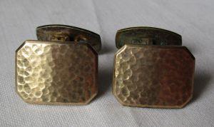 Exklusive 835er Silber Manschettenknöpfe Hammerschlag Muster vergoldet (124034)