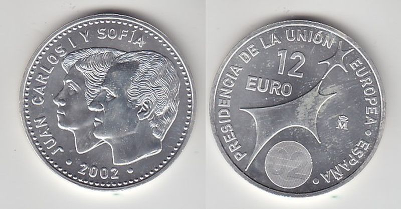 12 Euro Silbermünze Spanien Juan Carlos mit Frau EU Präsidentschaft 2002(116032)