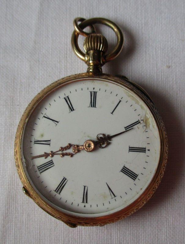 Elegante 585er Gold Damen Taschenuhr 10 Rubine um 1920 (123989)